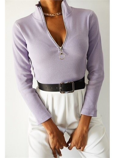 XHAN Lila Kaşkorse Fermuarlı Bluz  Lila